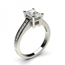 Radiant White Gold Side Stone Engagement Rings