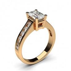 Emerald Rose Gold Side Stone Diamond Engagement Rings