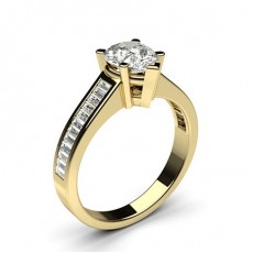 Pear Yellow Gold Side Stone Engagement Rings