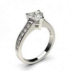 Heart Platinum Side Stone Diamond Rings