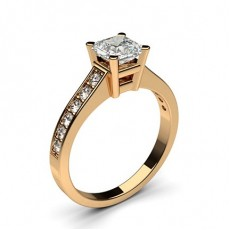 Asscher Rose Gold Side Stone Diamond Rings