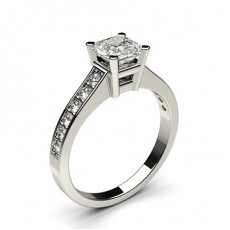 Asscher White Gold  Side Stone Engagement Rings