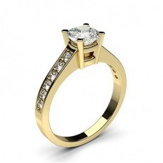 Cushion Yellow Gold Side Stone Diamond Engagement Rings