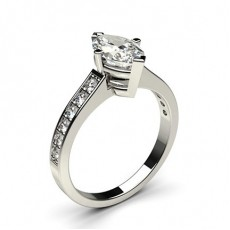 Marquise Platinum  Side Stone Diamond Engagement Rings