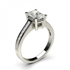 Radiant White Gold Side Stone Diamond Engagement Rings