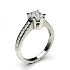 Pear Platinum  Side Stone Diamond Engagement Rings