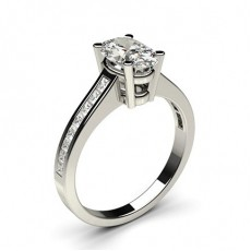 Oval Platinum Side Stone Engagement Rings