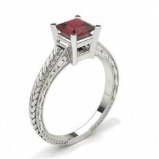 Princess Platinum Gemstone Diamond Rings