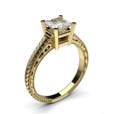 Princess Yellow Gold Solitaire Diamond Rings