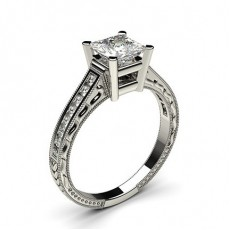 Princess White Gold Vintage Diamond Engagement Rings