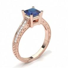 Princess Rose Gold Gemstone Diamond Rings