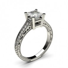 Princess Platinum  Side Stone Diamond Engagement Rings