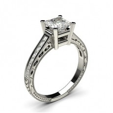 Princess Platinum Vintage Diamond Engagement Rings