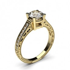 Yellow Gold Radiant Vintage Diamond Engagement Ring