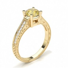 Round Yellow Gold Yellow Diamond Engagement Engagement Rings
