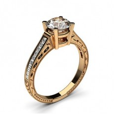 Round Rose Gold  Vintage Diamond Engagement Rings
