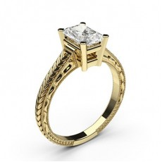Radiant Yellow Gold Vintage Diamond Engagement Rings