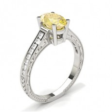 Oval Platinum Yellow Diamond Engagement Diamond Engagement Rings