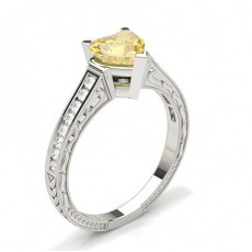 Heart Yellow Diamond Engagement Rings