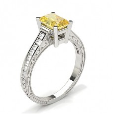 Radiant White Gold Yellow Diamond Rings
