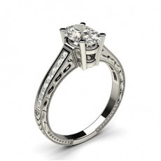 Oval White Gold Side Stone Diamond Rings