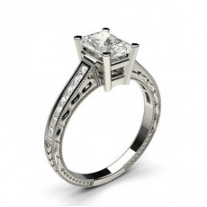 Radiant Platinum  Side Stone Diamond Engagement Rings