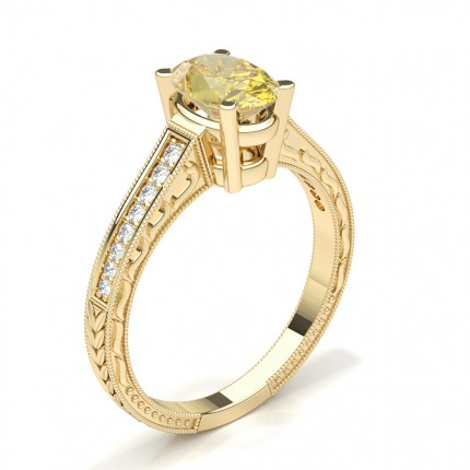 4 Prong Yellow Diamond Vintage Solitaire Engagement Ring