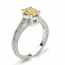 4 Prong Setting Thin Yellow Diamond Ring