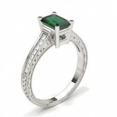 Emerald Vintage Diamond Engagement Rings