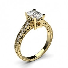 Emerald Yellow Gold  Vintage Diamond Engagement Rings