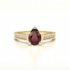 Pear Yellow Gold Gemstone Diamond Rings
