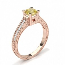 Cushion Rose Gold Yellow Diamond Engagement Engagement Rings