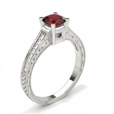 Cushion White Gold Gemstone Diamond Rings
