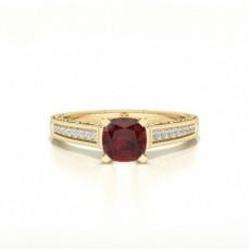 Cushion Yellow Gold Gemstone Diamond Rings