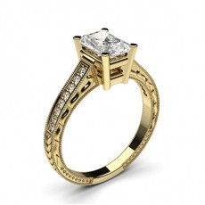 Radiant Yellow Gold Side Stone Diamond Rings