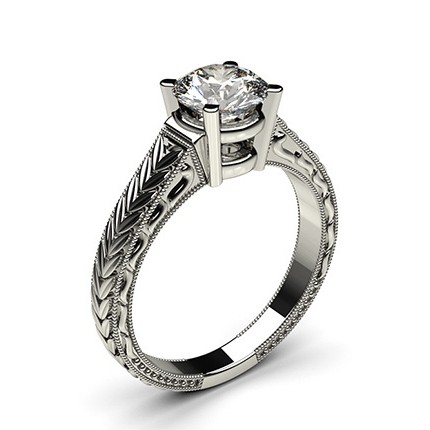 White Gold Round Vintage Diamond Engagement Ring
