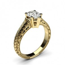 Pear Yellow Gold Solitaire Diamond Rings
