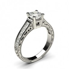 Cushion White Gold Vintage Engagement Rings