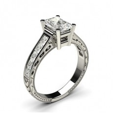 White Gold Radiant Vintage Diamond Engagement Ring