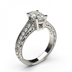 White Gold Cushion Vintage Diamond Engagement Ring