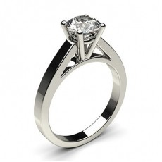 Round White Gold  Solitaire Diamond Rings