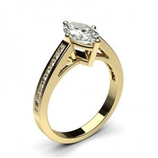 Marquise Yellow Gold Side Stone Engagement Rings