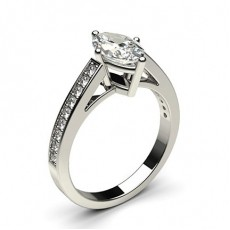 Marquise Platinum Side Stone Engagement Rings