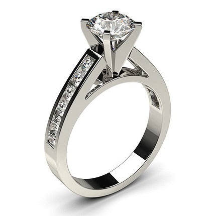 4 Prong Setting Large Side Stone Engagement Ring