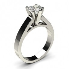 Heart White Gold Solitaire Diamond Rings