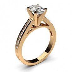 Oval Rose Gold Side Stone Diamond Engagement Rings