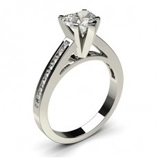 Heart Platinum Side Stone Diamond Engagement Rings