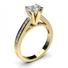 Heart Yellow Gold Side Stone Diamond Rings