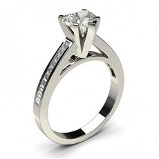 Heart White Gold Side Stone Diamond Rings