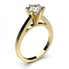 Emerald Yellow Gold  Classic Solitaire Diamond Engagement Rings